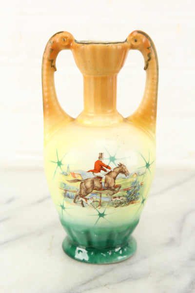 Czechoslovakian Porcelain Vase with Horse Riding Scene
