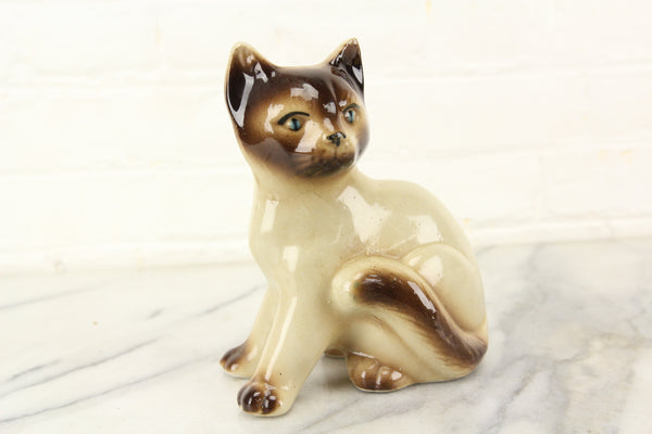 Porcelain Siamese Cat Statue, Made in Brazil