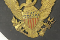 "United States Seal Wood Plaque with Tin Eagle ""E Plurbus Unum"" Wall Hanger - 8.5 x 10"""