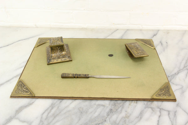 Art Nouveau Four Piece Desk Set with Inkwell, Blotter, Letter Opener, and Writing Pad