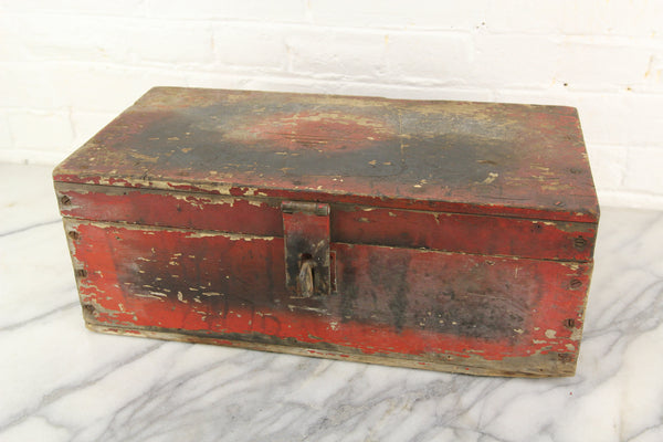 Red Painted Wooden Tool Box, Once Belonged to C.H. Hough - 18 x 9 x 7""