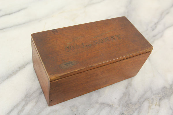 "Wooden ""Coal Money"" Storage Box with Inlay - 7 x 3.5 x 3"""