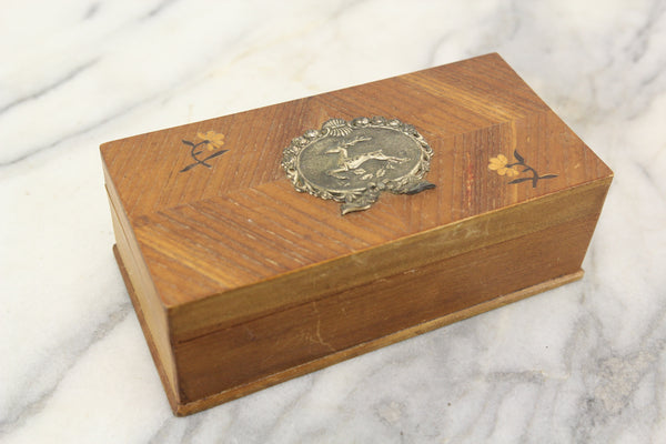 Small Wooden Storage Box with Tin Deer and Marquetry Inlaid Flowers - 7.5 x 3.75 x 2.5""