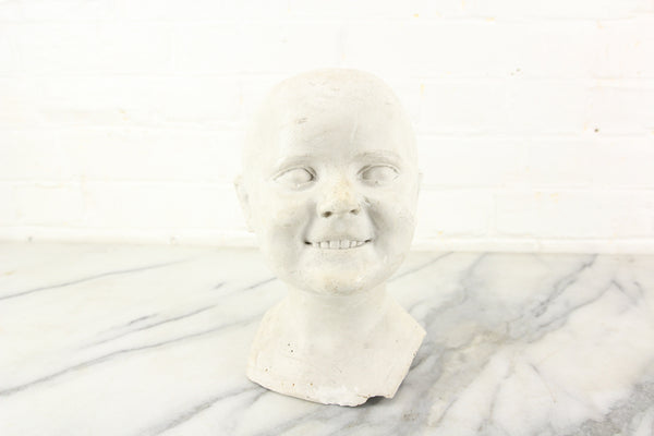 Antique Plaster Bust of a Slightly Creepy Child with a Toothy Smile