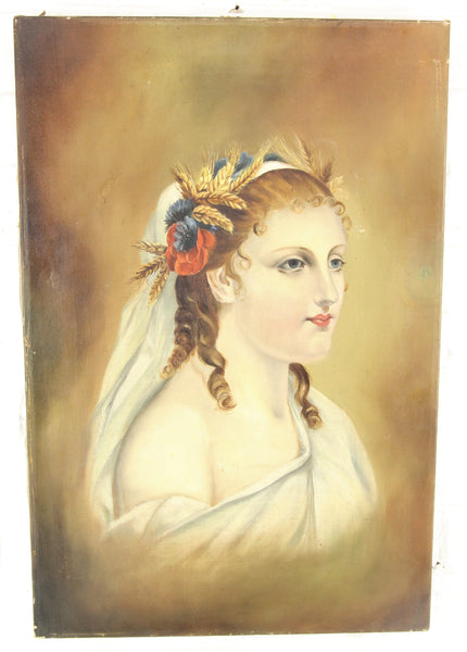 Victorian Oil on Canvas Painting of a Goddess, Attributed to Mrs. D. White - 14 x 21""