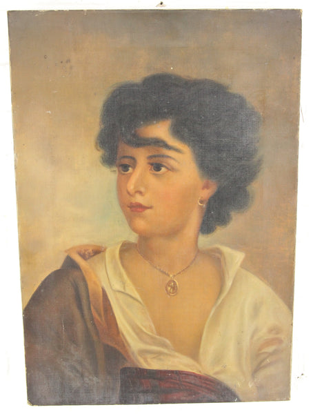 Victorian Oil on Canvas Painting of a Short-Haired Woman, Unsigned - 14 x 20""