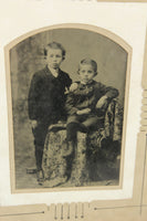 Half Plate Tintype Photograph of Two Boys in a Decorative Frame - 9.5 x 11.5""