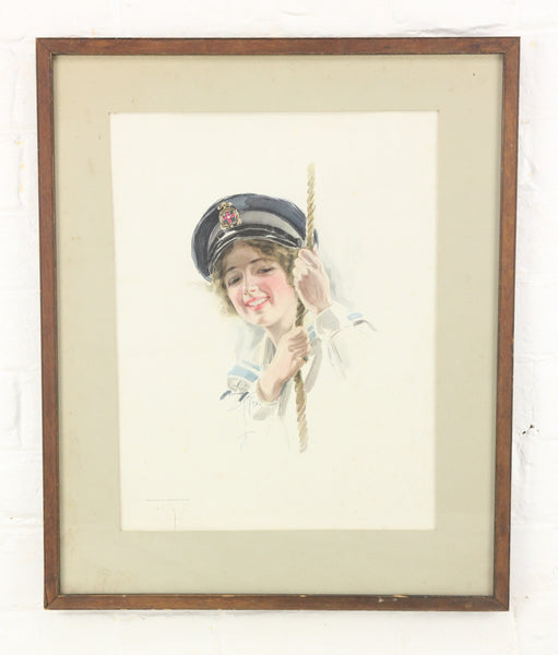 Pretty Woman Sailor Print by Harrison Fisher for Cosmopolitan, 1913 - 14.5 x 17.75""