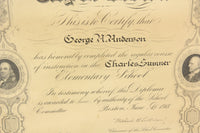 City of Boston Charles Sumner Elementary School Diploma for Georage A. Anderson, 1918 - 17 x 20.5""