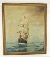 Antique Oil on Canvas Painting of Clipper Ships on the Sea - 24 x 28""