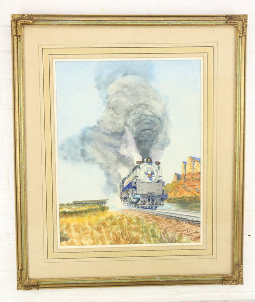 Original Watercolor Painting of a Train by Ivan Nichols - 21 x 25""