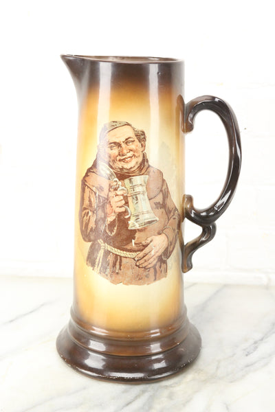 Large Beer Stein Tankard Pitcher with Cheeky Drinking Friar Monk Priest, France, 13""