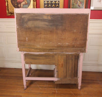 Country Style Pink Painted Wood Kitchen Cupboard and Desk