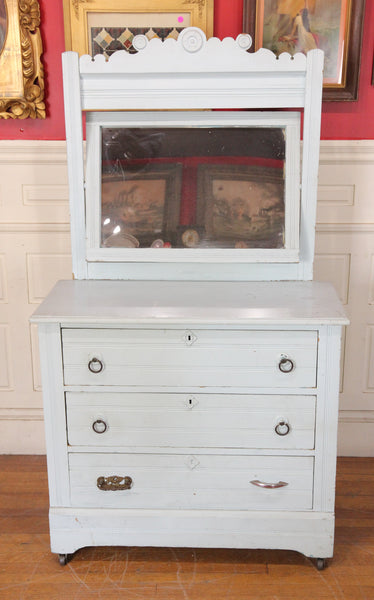 Shabby Child's Three Drawer Dresser with Swing Mirror and Light Blue Paint