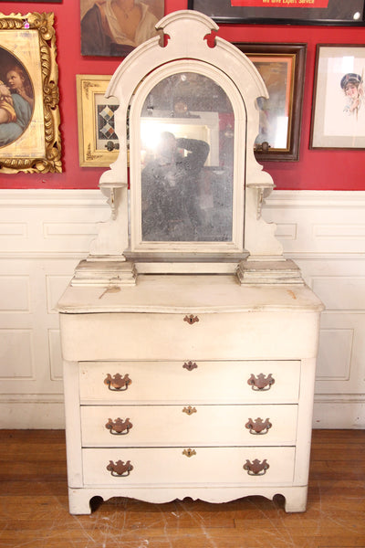 Dirty White Project Four Drawer Dresser with Glove Boxes and Swing Mirror