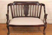 Edwardian Wood Framed Settee Love Seat Sofa with Carved Lady Head Arm Rests