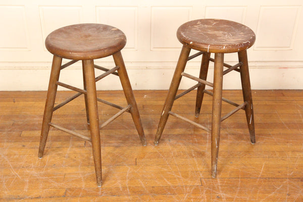 Pair of Vintage Wood Stools Made in Maine State Prison at Thomaston