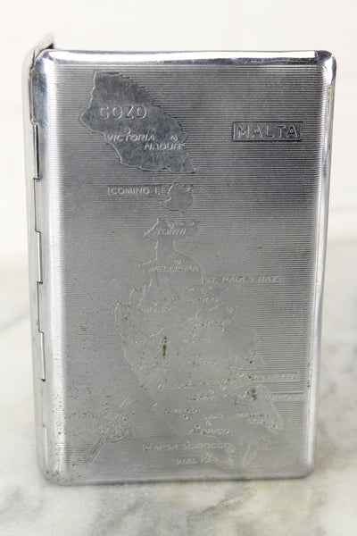 Malta Polished Chrome Cigarette Case Holder by Tallent, England - Engraved 1949