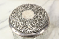 Heavy Glass Tobacco Humidor with Art Nouveau Silver Plate Lid