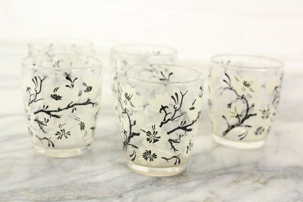 Small Glass Drinking Cups with White and Black Flower and Branch Design, Set of 5