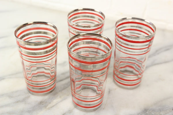 Silver and Red Striped Glass Drinking Cups, Set of 4