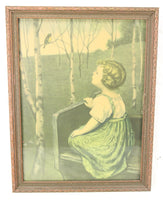 "Simon Glucklich ""Spring Song"" Framed Print, Copyright 1925, Borin, Chicago - 13.5 x 17.5"""