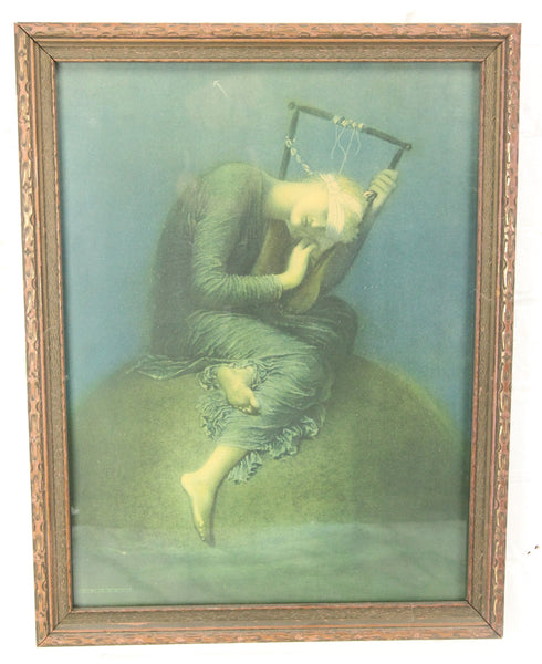 "George Frederic Watts ""Hope"" Framed Print, Copyright 1925, Borin, Chicago - 13.75 x 17.75"""