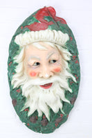 Life-Size Santa Claus Face Chalkware Wall Hanger Statue Decoration