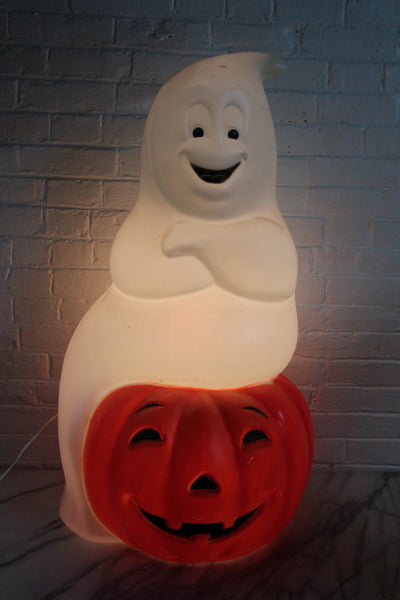 Halloween Ghost and Jack-O-Lantern Pumpkin Plastic Vintage Blowmold by Empire, 34""