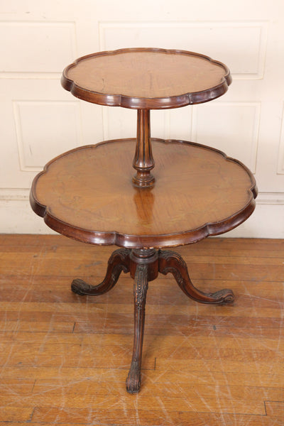 Two Tier Pie Crust Table with Inlay