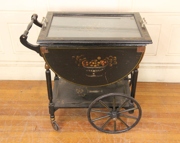 Drop Leaf Black Painted Wooden Tea Cart with Removable Tray