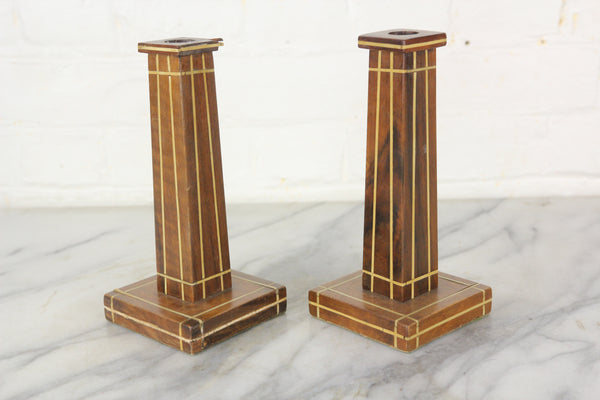 Inlaid Wooden Candlesticks, Pair - 7.75""