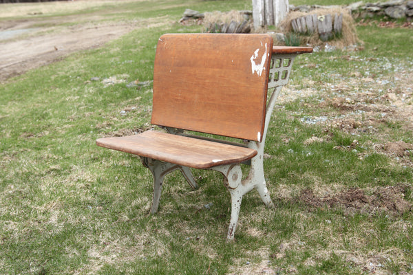 Antique Folding Cast Iron and Wood Child's Size School Desk #1