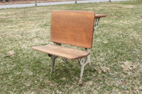 Antique Folding Cast Iron and Wood Child's Size School Desk #2