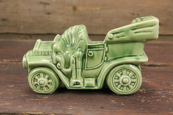 Green Porcelain Old Time Car TV Lamp Planter by Buckingham Ceramics