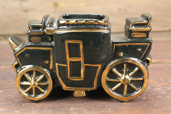 Black and Gold Porcelain Stagecoach TV Lamp Planter