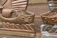 Copper-Toned and Brass Asian Ship Bookends, Pair