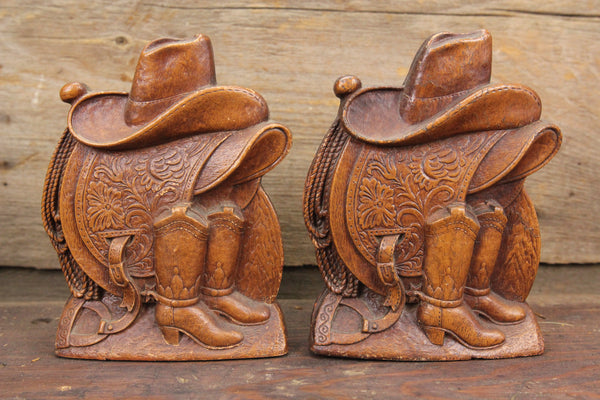 Syroco Wood Cowboy Bookends with Saddle, Boots, and Hat, Pair