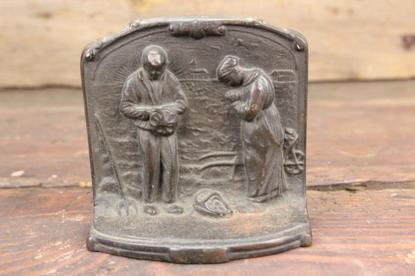 Cast Iron Praying Farmers Single Bookend or Door Stop