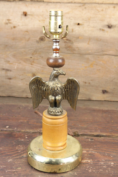Wood and Pot Metal American Eagle Lamp