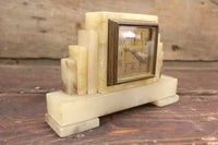 Alabaster Art Deco Desk Clock, Made in Germany (Nonfunctioning)