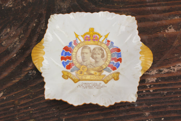 Bone China King George VI Coronation Commemorative Dish by Shelley, England, 1937