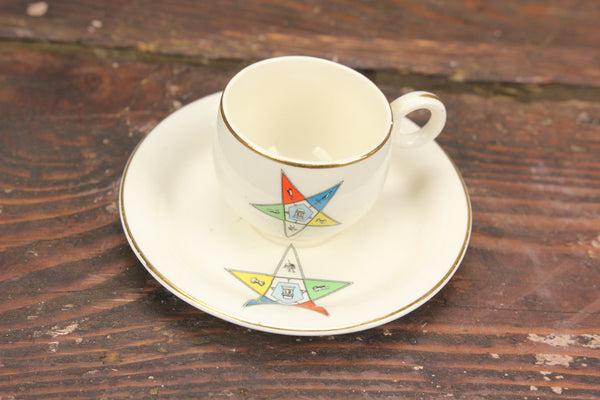 Freemason Order of the Eastern Star Eggshell Cup and Saucer by Homer Laughlin, USA D46N5