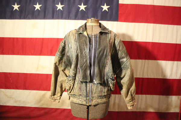 "Denim and Leather ""Zipperology"" Jacket by Winlit, Size M"