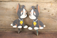 "Folk Art ""Ruff & Reddy"" Boxer Puppy Dog Wooden Lawn Ornaments"