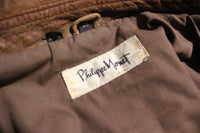 Philippe Monet Brown Leather Jacket, Size 38