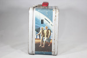 Retro Futuristic Outer Space Themed Thermos Brand Metal Lunchbox, 1950s