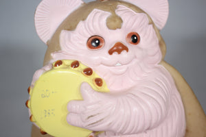 Pink Ewok with Tambourine Vinyl Plastic Coin Bank, Star Wars: Return of the Jedi, 1983