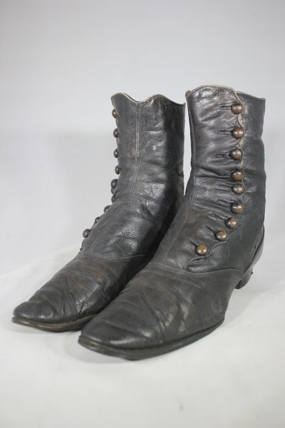 Victorian Button-Up Black Leather Women's Boots, High-Top Shoes