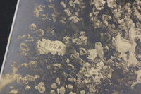 Antique Matted Funeral Flower Arrangement Photograph for Beda, Daughter & Sister